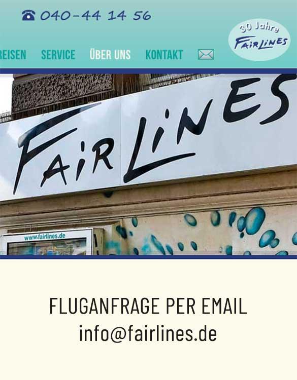 Flug bei Fairlines anfragen